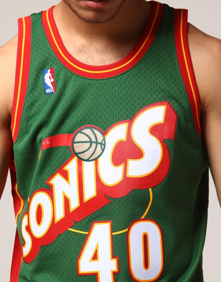 bbf17c744dd Mitchell   Ness Seattle Supersonics Shawn Kemp  40 NBA Jersey Green ...