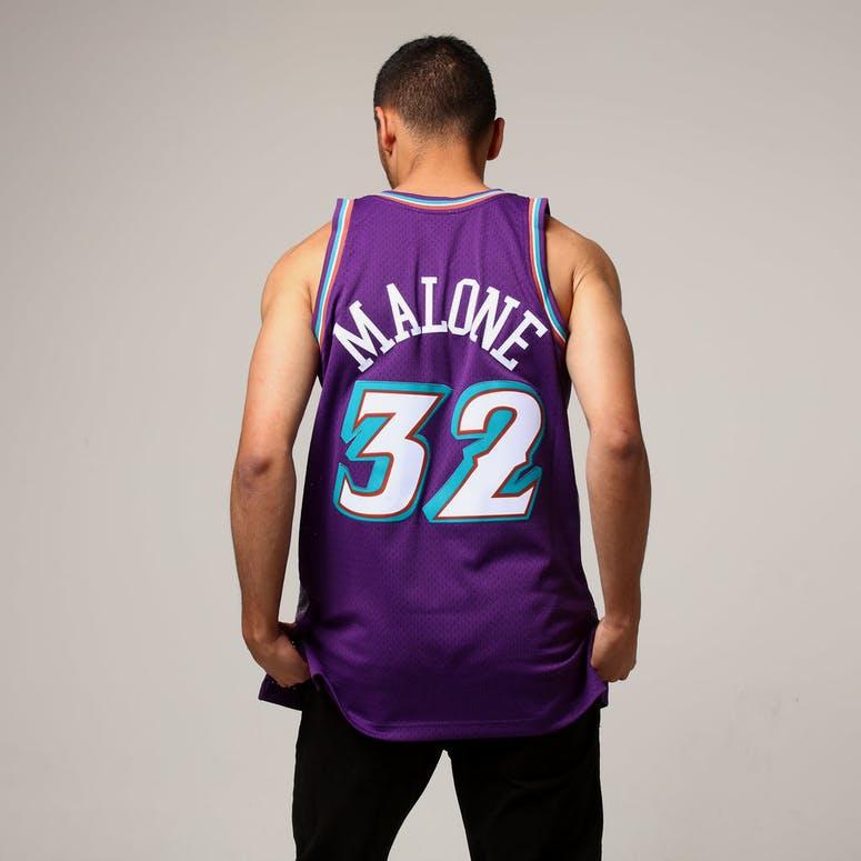 Mitchell   Ness Utah Jazz Karl Malone  32 NBA Jersey Purple 0931ab326