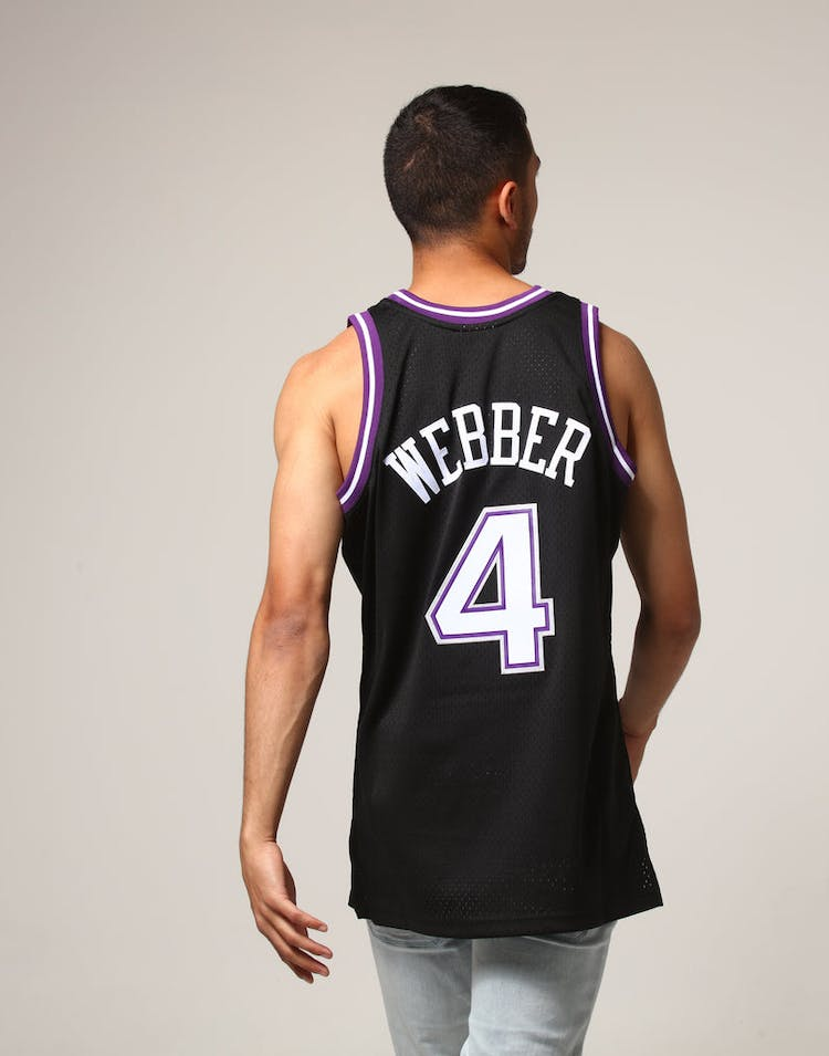 the best attitude 1c94b a79f2 Mitchell & Ness Sacramento Kings Chris Webber #4 NBA Jersey Black