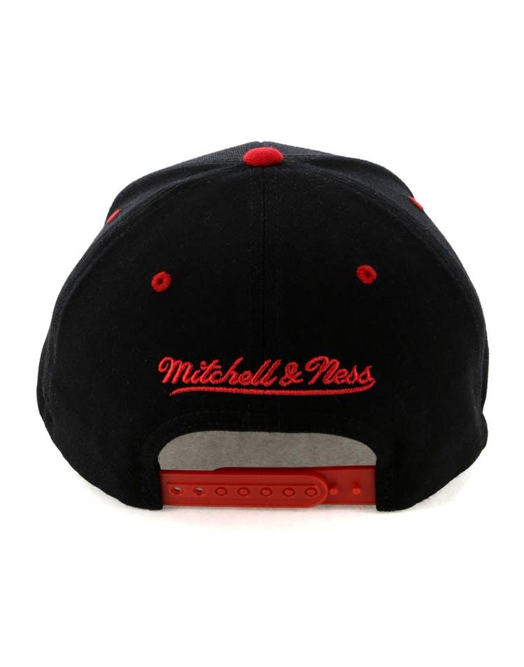 buy popular d62ce 89528 Mitchell   Ness Houston Rockets Team Logo 2 Tone 110 Snapback Black Red