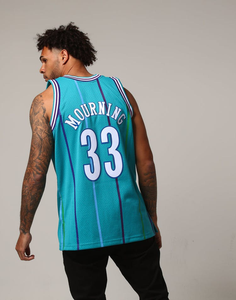 on sale f672c ee5ec Mitchell & Ness Charlotte Hornets Alonzo Mourning #33 NBA Jersey Teal