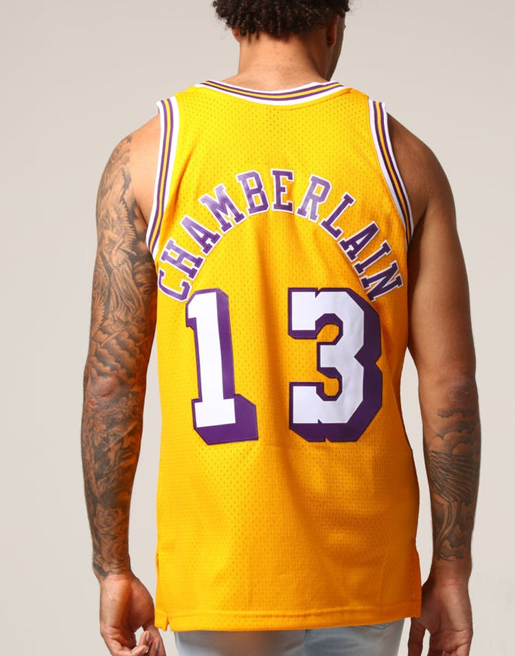 97c6090b372 Mitchell   Ness Los Angeles Lakers Wilt Chamberlain  13 NBA Jersey Yel –  Culture Kings