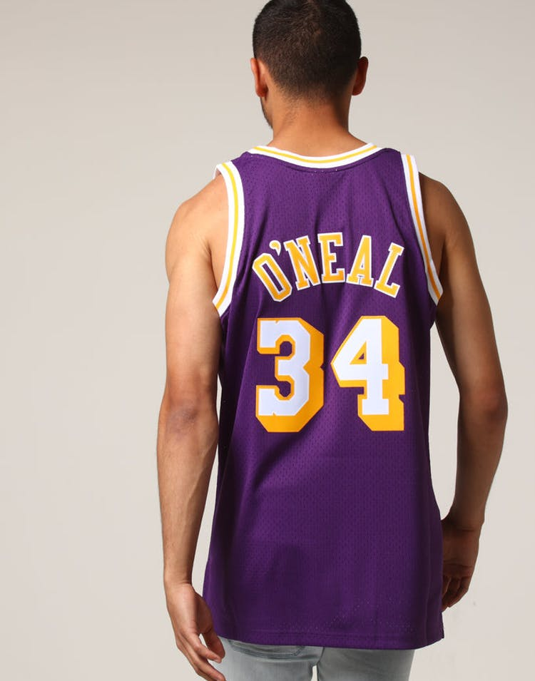 7b08f458b Mitchell   Ness Los Angeles Lakers Shaquille O Neal  34 NBA Jersey Pur –  Culture Kings
