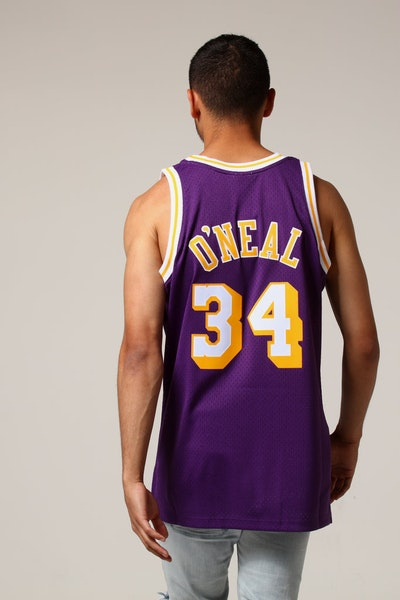 Mitchell   Ness Los Angeles Lakers Shaquille O Neal  34 NBA Jersey Purple f42a0d41d