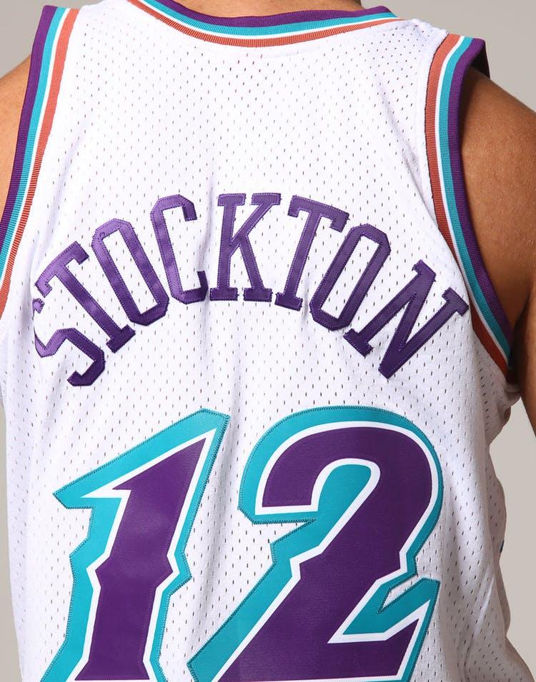 check out fda96 2b679 Mitchell & Ness Utah Jazz John Stockton #12 NBA Jersey White