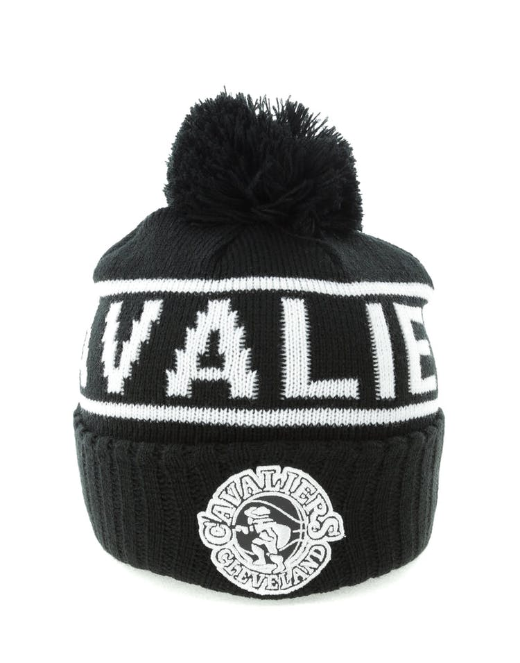 53b4bf6a9 Mitchell & Ness Cleveland Cavaliers Black & White Logo High 5 Beanie  Black/White