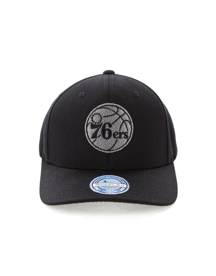 79438358 Mitchell & Ness Philadelphia 76ers Mono Melange Logo Snapback Black