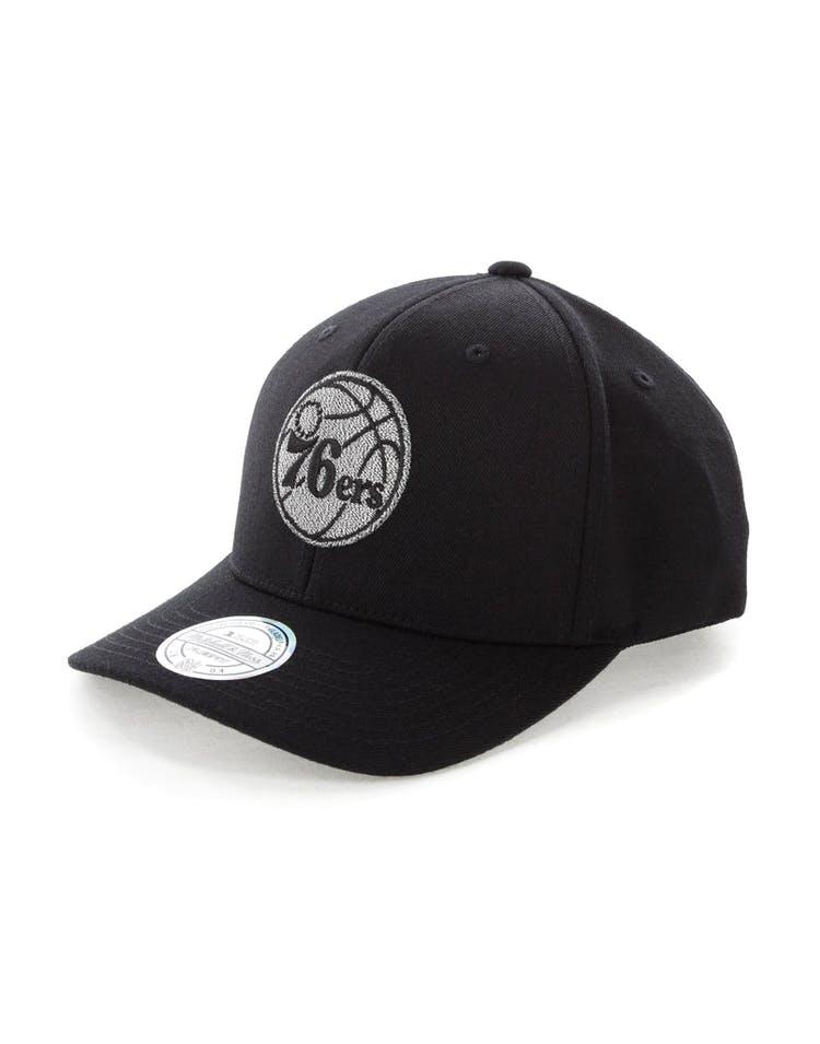 16378363 Mitchell & Ness Philadelphia 76ers Mono Melange Logo Snapback Black ...