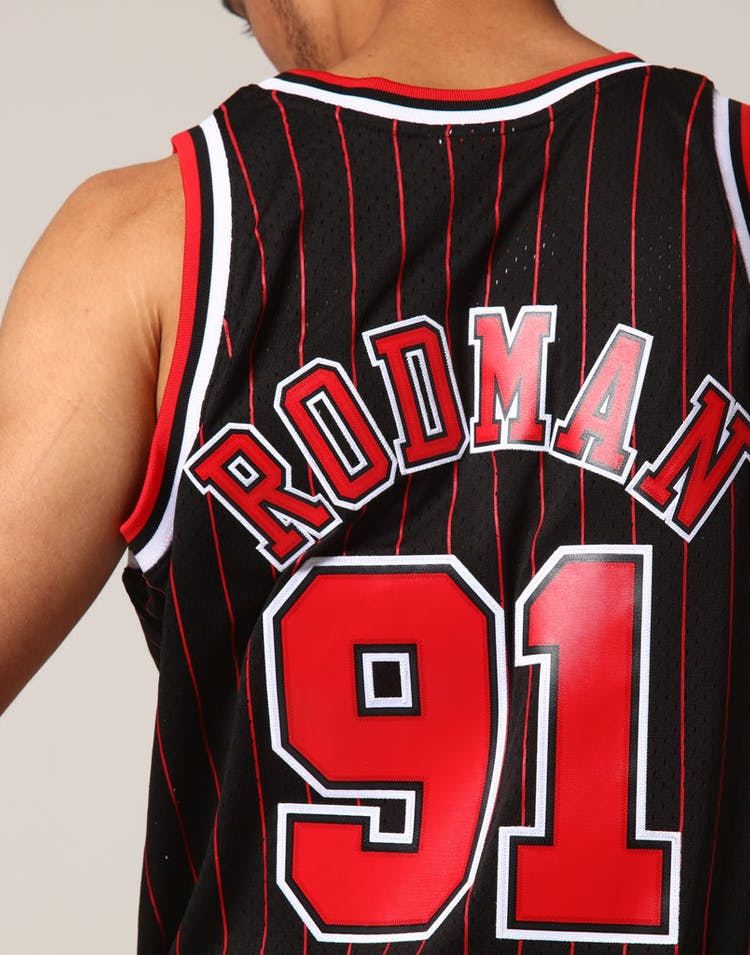 best service 44ab7 8a27f Mitchell & Ness Chicago Bulls Dennis Rodman #91 NBA Jersey Black/Red