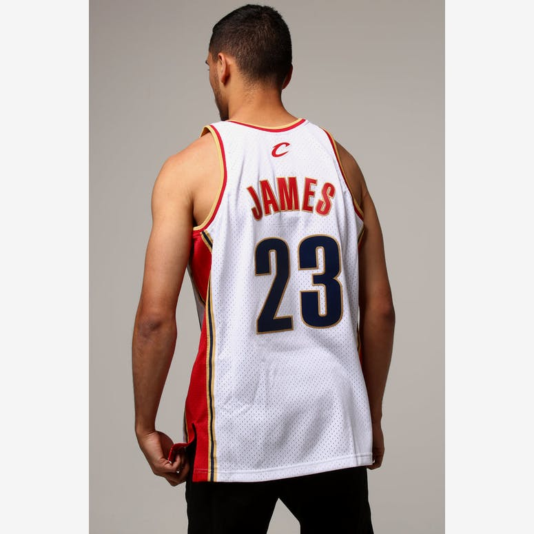 Mitchell   Ness Cleveland Cavaliers Lebron James  23 NBA Jersey White  –  Culture Kings 3214f67c1