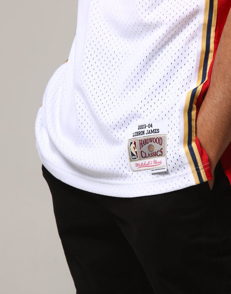0c24218ec02 Mitchell   Ness Cleveland Cavaliers Lebron James  23 NBA Jersey White Red