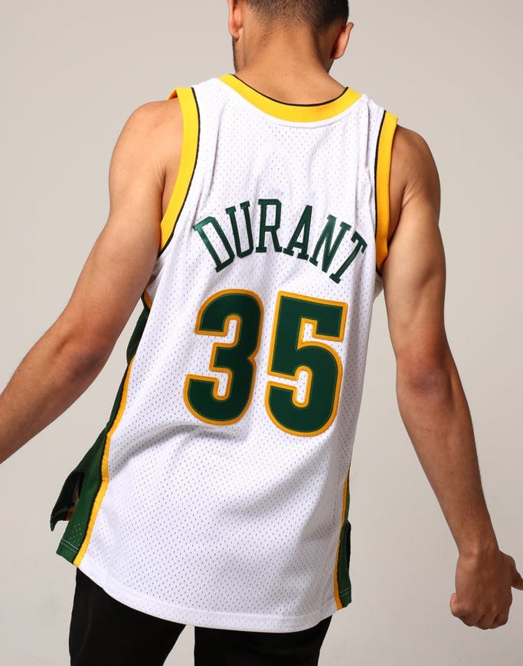 0236f62f5771 Mitchell   Ness Seattle Supersonics Kevin Durant  35 NBA Jersey White Green