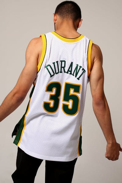 Mitchell & Ness Seattle Supersonics Kevin Durant #35 NBA Jersey White/Green