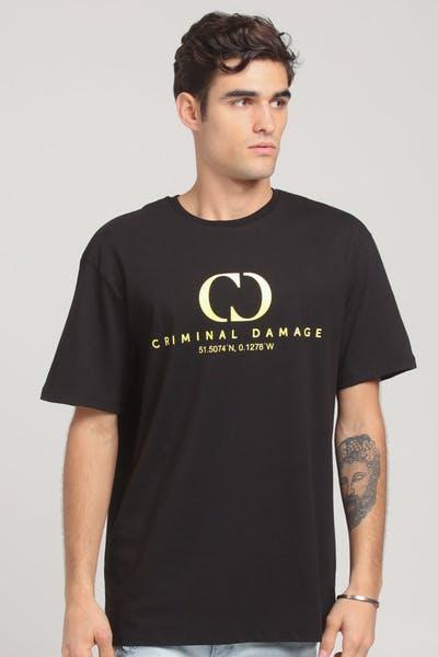 09aef0a9 Criminal Damage Co-Ordinate Oversize T-Shirt Black/Yellow ...