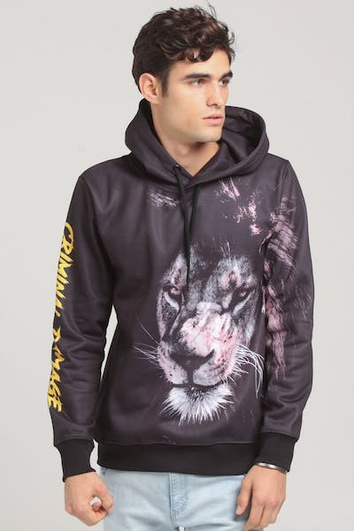 Criminal Damage Lion Hood Black/Multi-Coloured