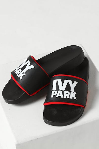 Ivy Park Stacked Logo Red Neo Sock Slide Black