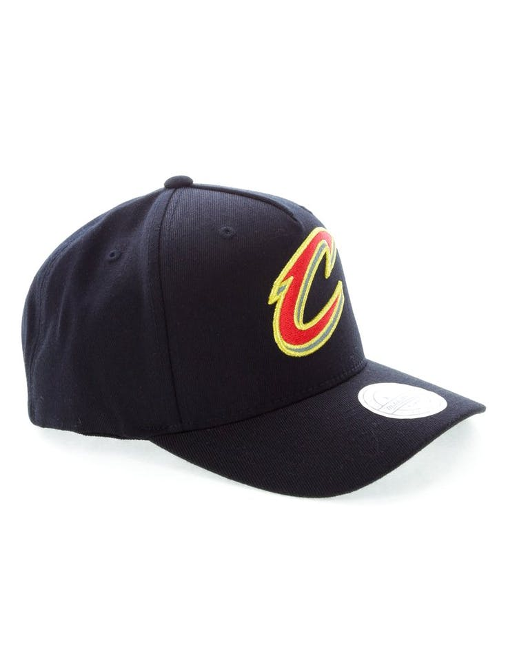 7860461d12902 Mitchell   Ness Cleveland Cavaliers Team 110 Pinch Snapback Black Red Green