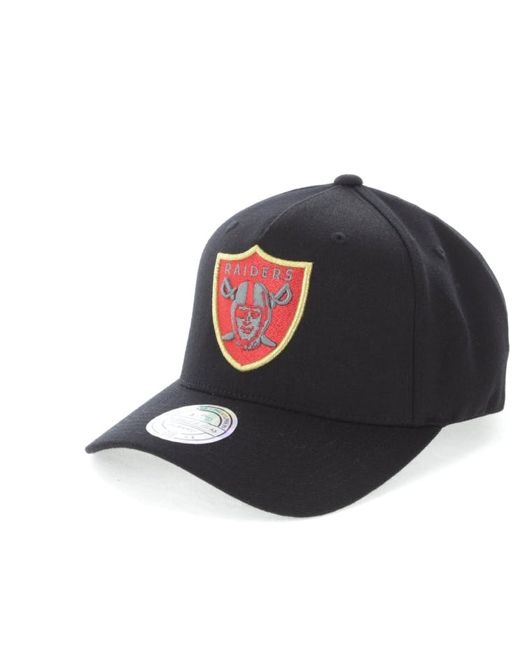 separation shoes 622fe eecd4 Mitchell   Ness Oakland Raiders Team 110 Pinch Snapback Black Red Green
