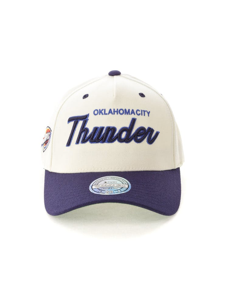 release date 35b81 7bbc3 Mitchell   Ness Oklahoma City Thunder Script 110 Snapback White Navy – Culture  Kings