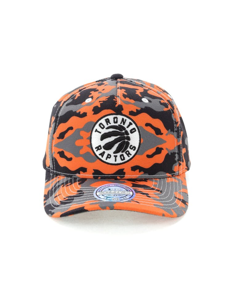 1c67bd38a63a34 Mitchell & Ness Toronto Raptors 110 Pinch Panel Snapback Camo/Orange –  Culture Kings