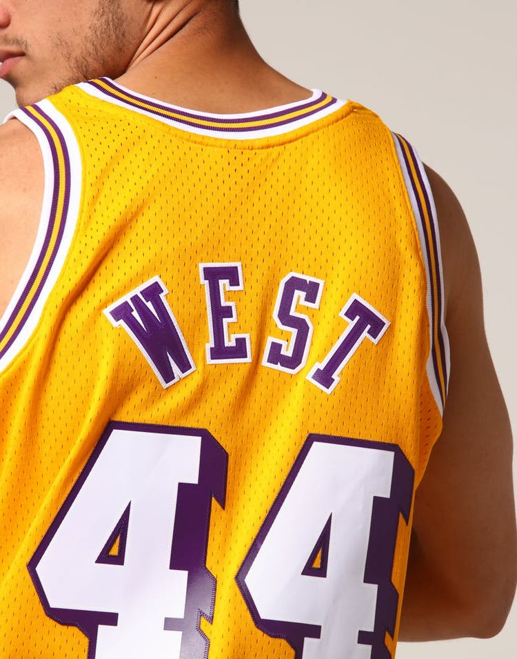 4337b2267b9 Mitchell   Ness Los Angeles Lakers Jerry West  44 NBA Jersey Yellow ...