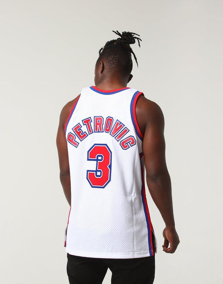 b0e4c88d10d Mitchell   Ness New Jersey Nets Dražen Petrović  3 NBA Jersey White –  Culture Kings