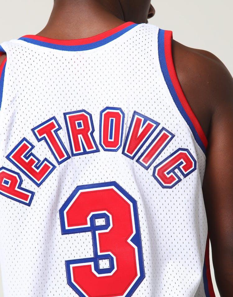 release date: 369d3 8ff01 Mitchell & Ness New Jersey Nets Dražen Petrović #3 NBA Jersey White