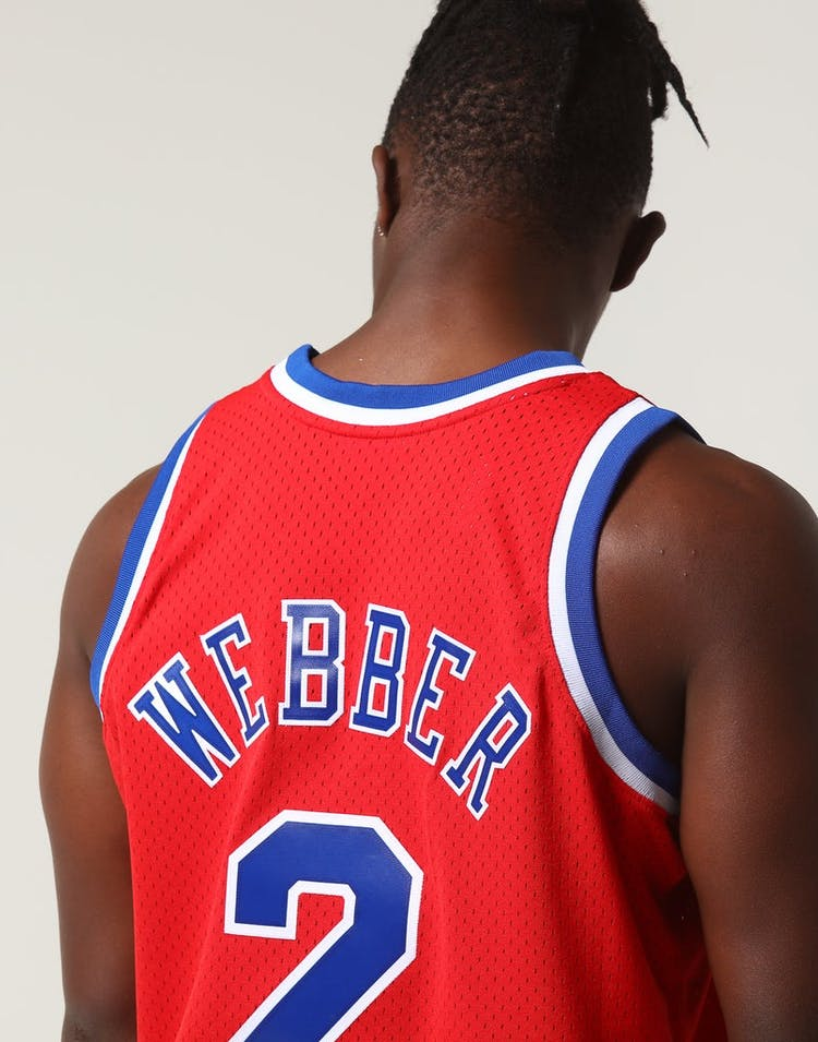newest cda7c 4a78c Mitchell & Ness Washington Bullets Chris Webber #2 NBA Jersey Red