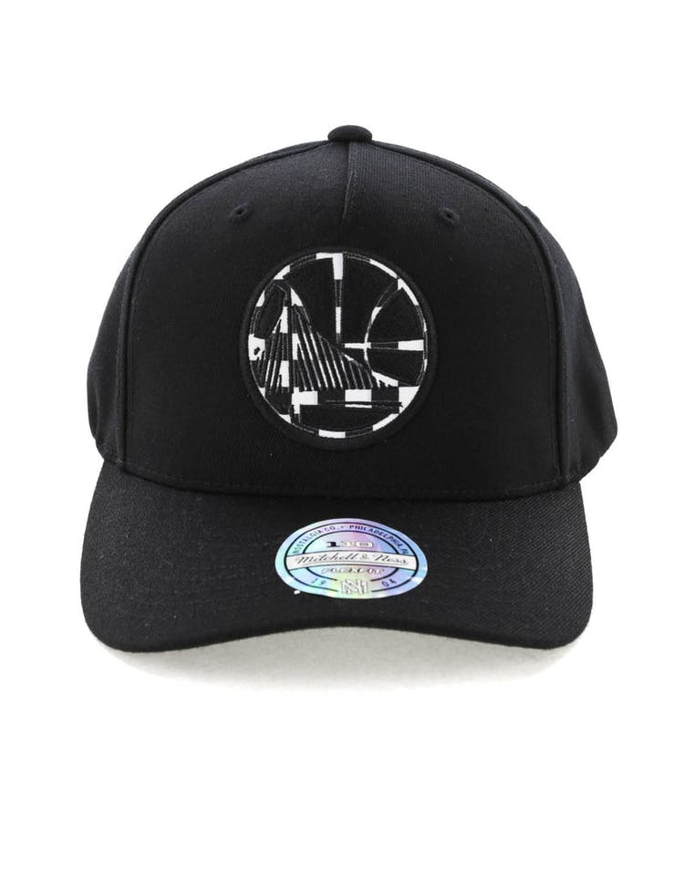 online store ae98a 0f5f6 Mitchell   Ness Golden State Warriors Checkerboard 110 Pinch Snapback Black