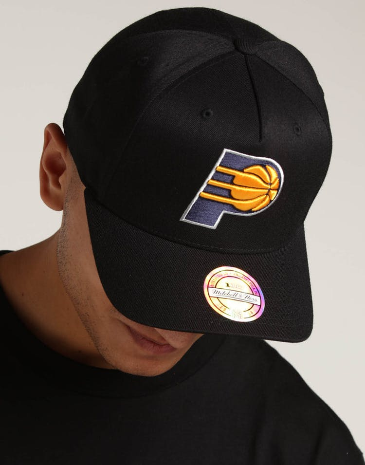 e918564b7b784 Mitchell   Ness Indiana Pacers 110 Pinch Snapback Black Yellow – Culture  Kings