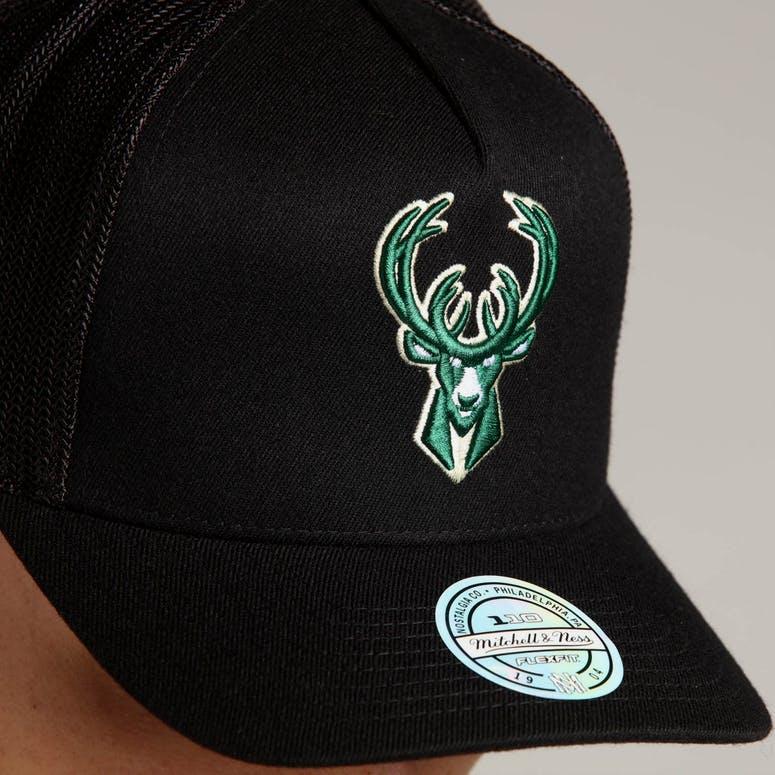 1e34bf35ab7 Mitchell   Ness Milwaukee Bucks 110 Snapback Trucker Black – Culture ...