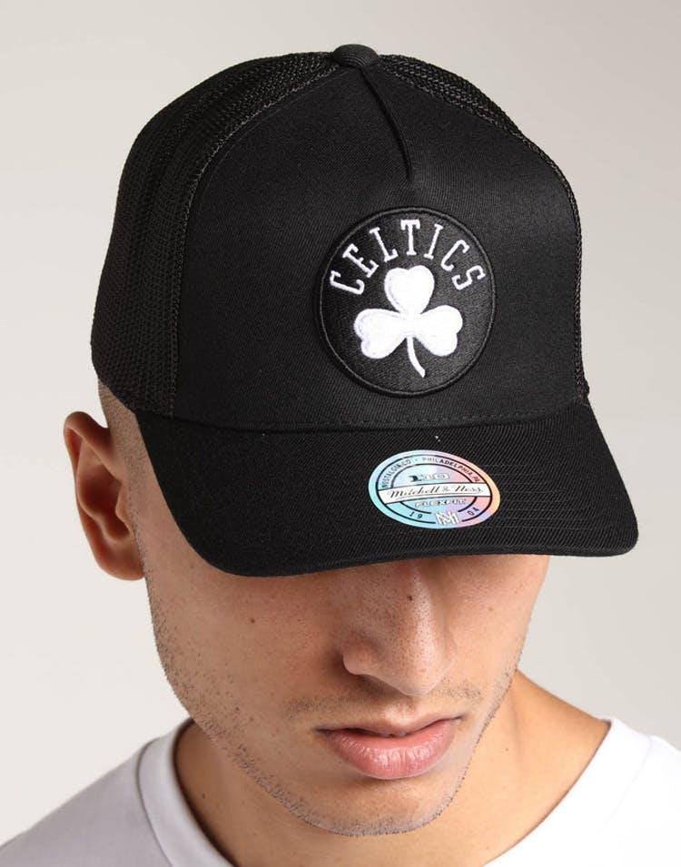 online retailer 3a080 c09bc Mitchell   Ness Boston Celtics 110 Snapback Trucker Black White – Culture  Kings