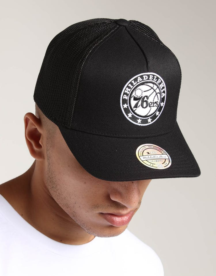 2d650f7ecc7 Mitchell   Ness Philadelphia 76ers 110 Snapback Trucker Black White –  Culture Kings
