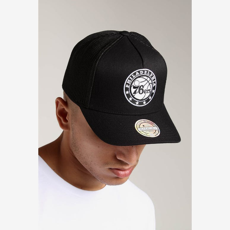 Mitchell   Ness Philadelphia 76ers 110 Snapback Trucker Black White – Culture  Kings cdb00b171981