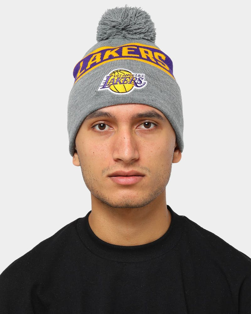MItchell & Ness Men's Los Angeles Lakers Tone Knit Beanie Grey