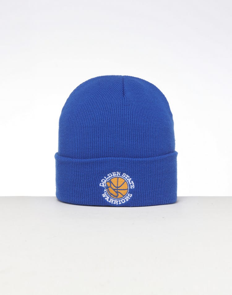 low priced a5723 05bc8 Mitchell   Ness Golden State Warriors HWC Logo Knit Beanie Royal Blue –  Culture Kings