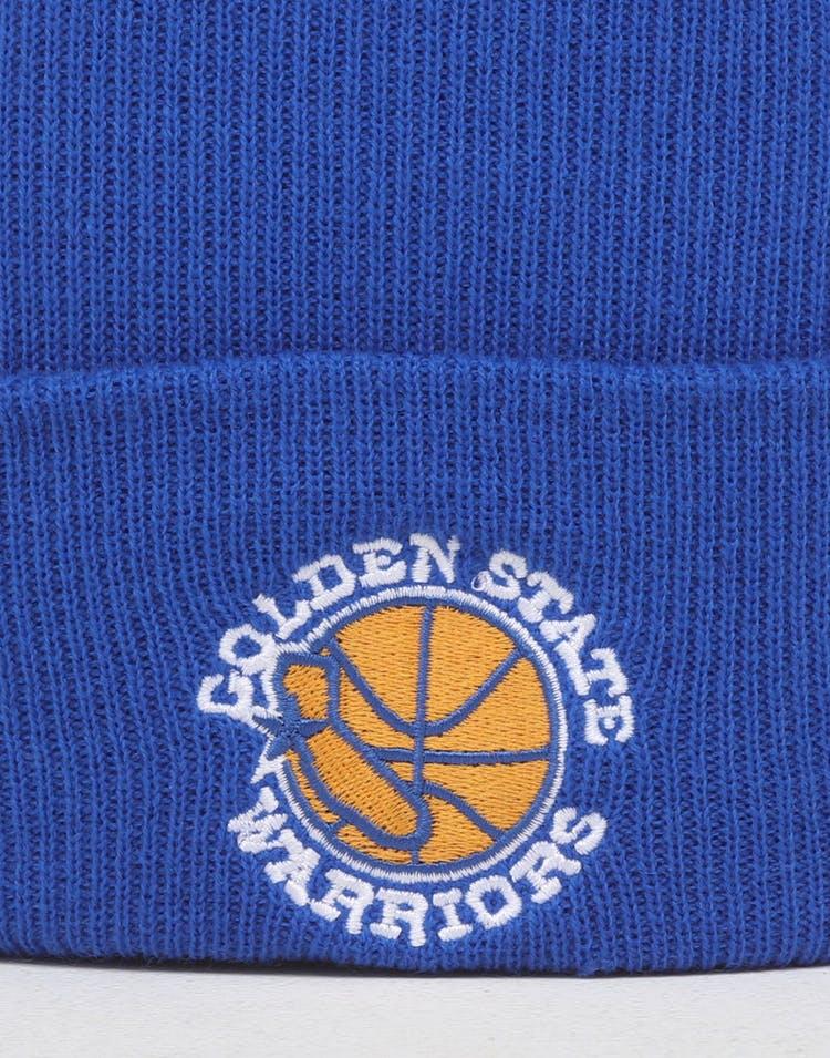 new arrival db416 418b7 Mitchell   Ness Golden State Warriors HWC Logo Knit Beanie Royal Blue