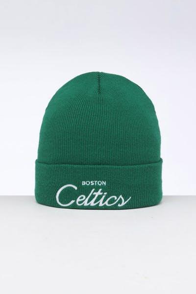 info for 239e4 f692e Mitchell   Ness Boston Celtics Special Script Knit Green ...