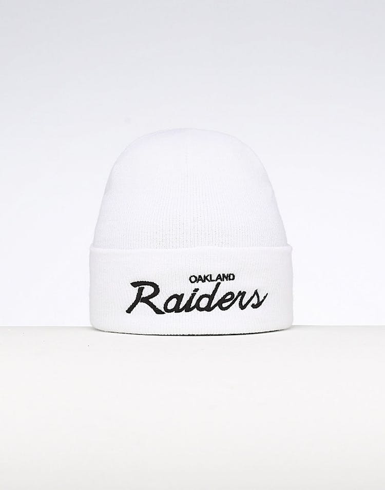 new style dc651 bbae0 Mitchell & Ness Oakland Raiders Special Script Knit White