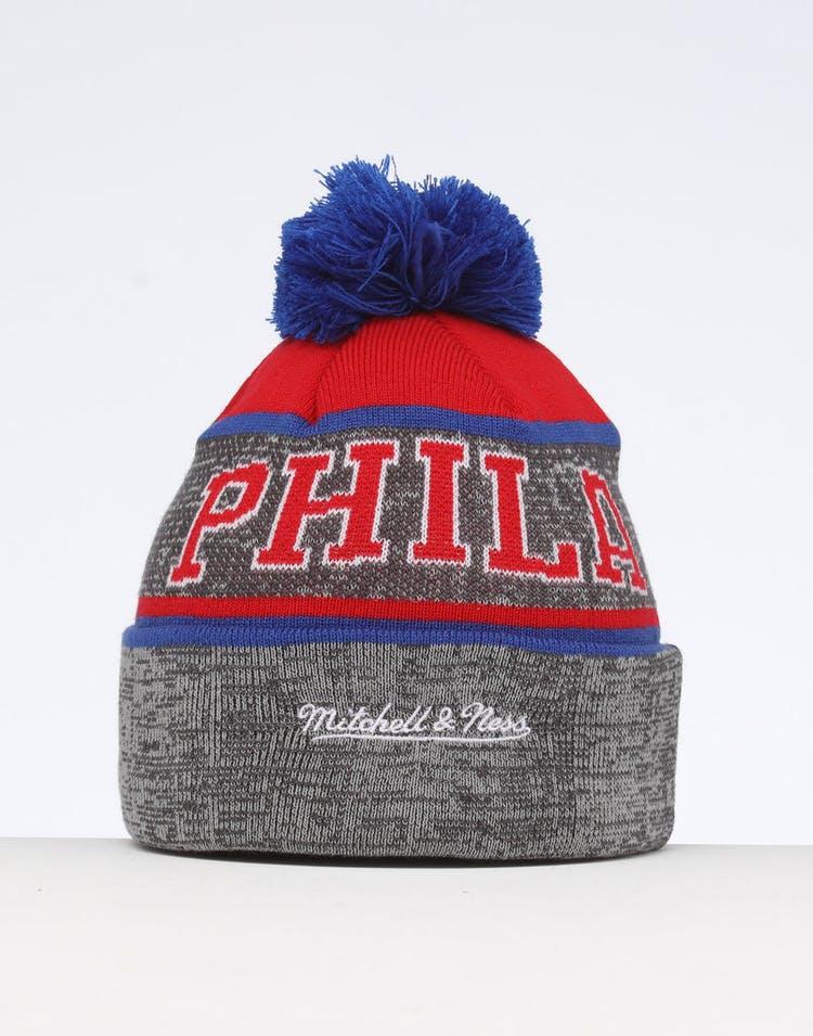 9951de9c809a26 Mitchell & Ness Philadelphia 76ers Team Knit Beanie Black/Red ...