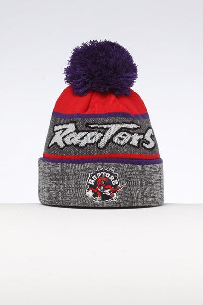 d39adc54a94b8 Mitchell   Ness Toronto Raptors Team Knit Beanie Black Purple