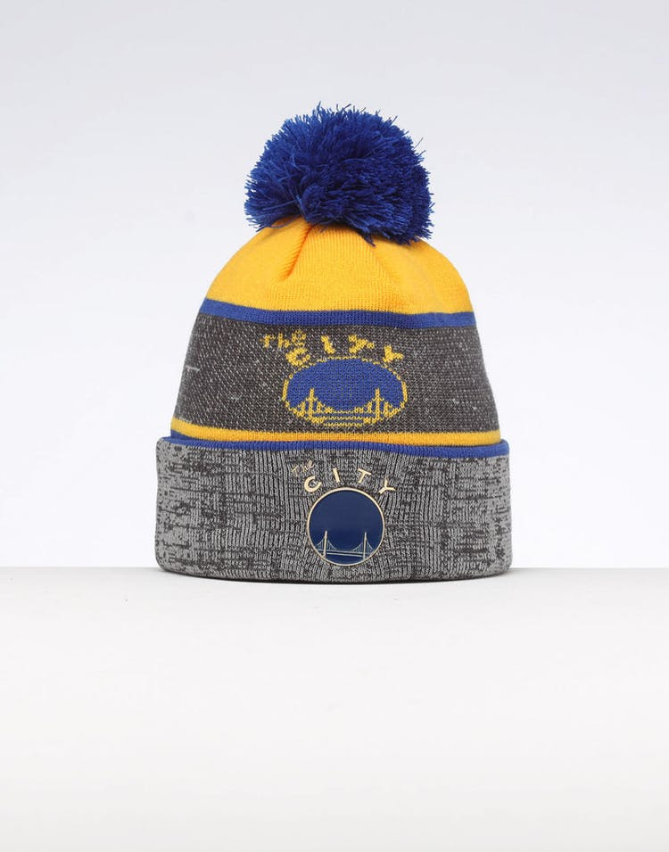 more photos 9c0b5 73d77 Mitchell   Ness Golden State Warriors Team Knit Beanie Black Blue – Culture  Kings