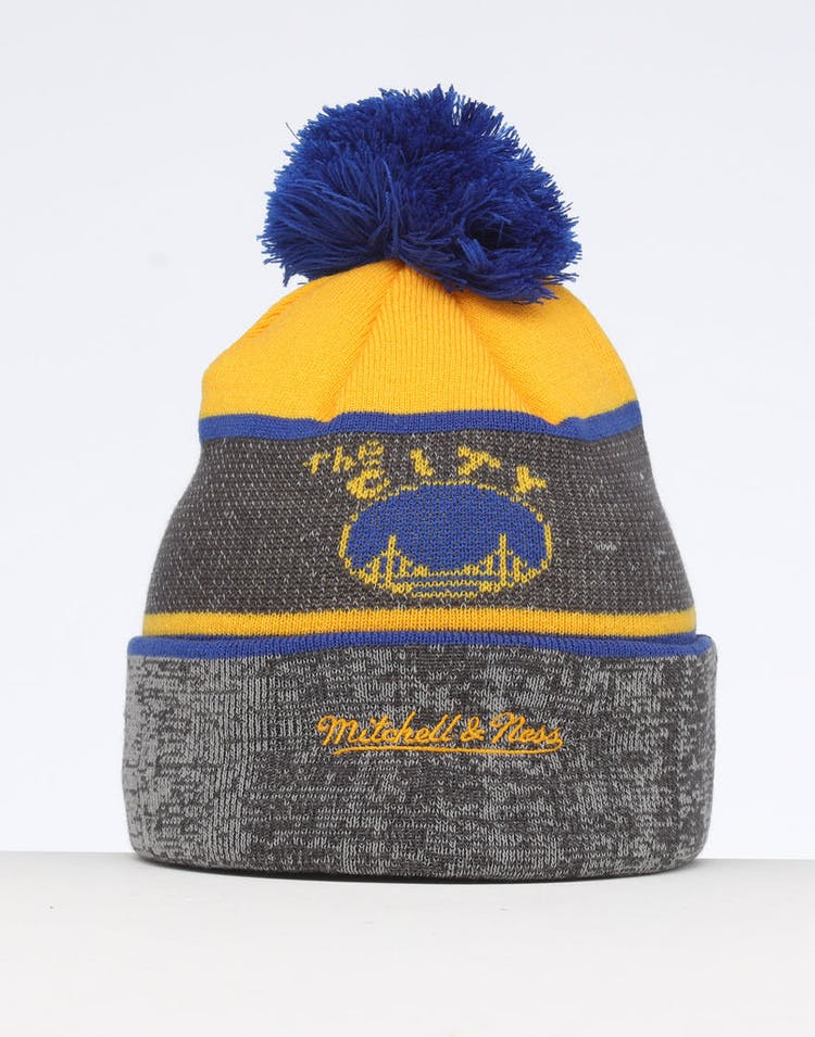 0ec697c2311982 Mitchell & Ness Golden State Warriors Team Knit Beanie Black/Blue ...