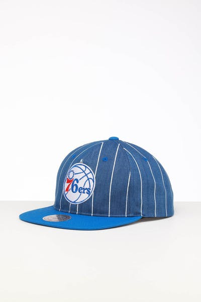new product 5ca45 ef56b Mitchell   Ness Philadelphia 76ers Low Crown Retro Snapback Denim Pinstripe  ...