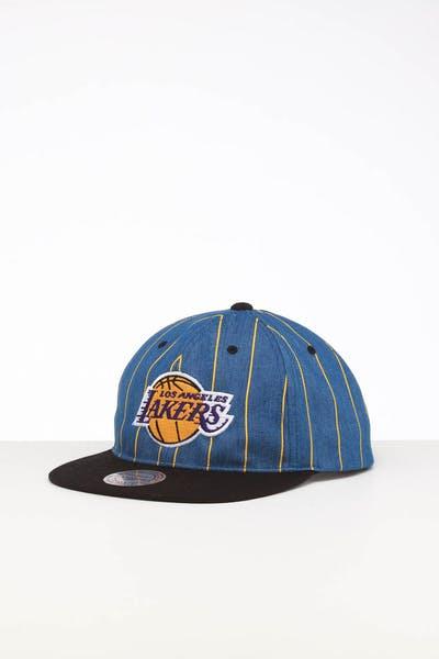 buy popular ae7d0 f4975 Mitchell   Ness Los Angeles Lakers Low Crown Retro Snapback Denim Pinstripe  ...