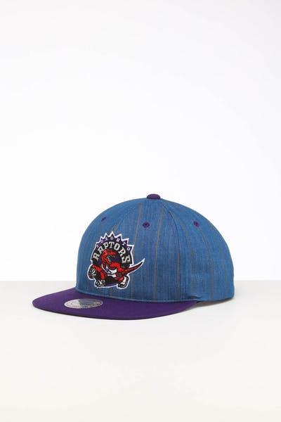 sale retailer 9b79d 03f79 Mitchell   Ness Toronto Raptors Low Crown Retro Snapback Denim Pinstripe ...