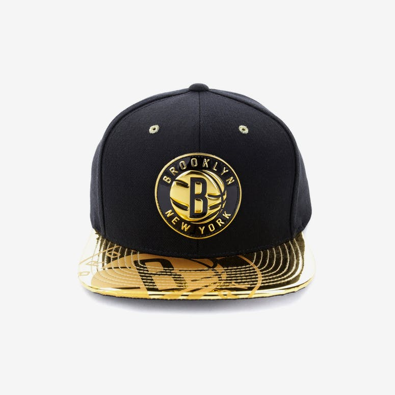 97303671523 Mitchell   Ness Brooklyn Nets Gold Standard Snapback Black Gold – Culture  Kings