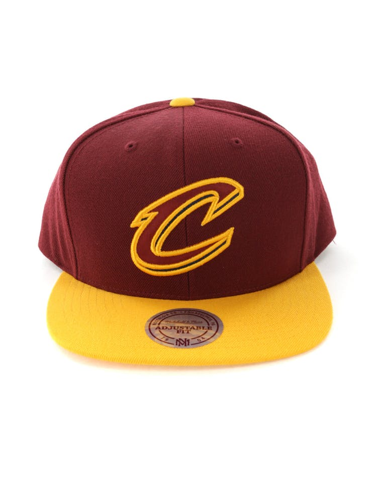 best cheap afe75 a6e95 Mitchell   Ness Cleveland Cavaliers Satin Fused Snapback Burgundy Yellow