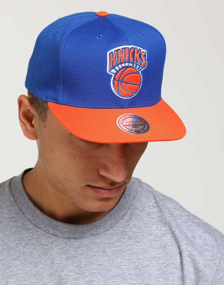 871668dc62eba Mitchell   Ness New York Knicks Satin Fused Snapback Royal Orange – Culture  Kings