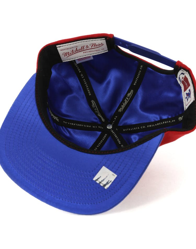 c8556a8589167 Mitchell   Ness Philadelphia 76ers Satin Fused Snapback Red Royal ...